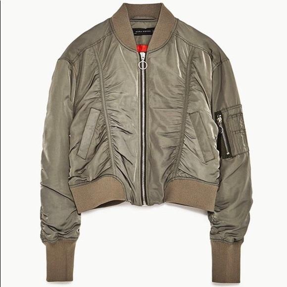 30036ab33 Zara cropped khaki bomber jacket NWT